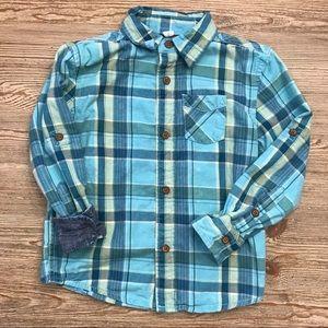 Little Boys Button Down Plaid Denim Shirt